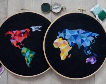 Modern Cross Stitch Pattern PDF - Geometric World Map, World Map Silhouette Counted Cross Stitch Chart, Original Embroidery, Wall Decor