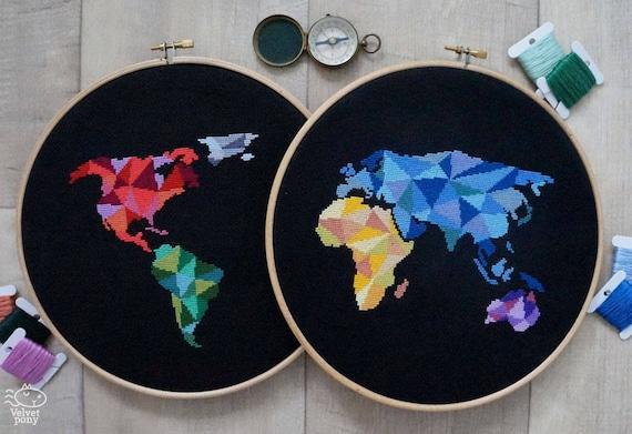 Modern cross stitch pattern pdf geometric world map world gumiabroncs Image collections