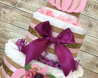 Falling in Love with Baby Diaper Cake in Burlap, Pink, Plum and Gold, Fall Baby Shower Centerpiece