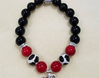 Red and black Georgia bulldogs bracelet -- UGA Dawgs