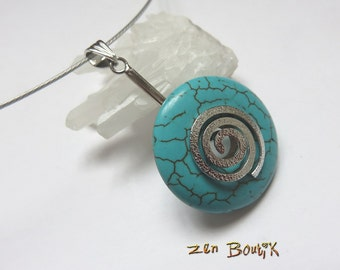 Howlite Turquoise Donut disc, spiral, necklace Turquoise circle