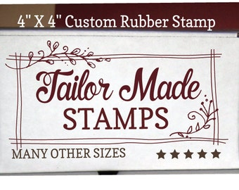 "Your Logo or Artwork as a Rubber Stamp, 4"" x 4"" Wood Mounted"