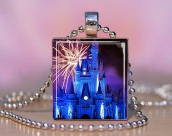 CINDERELLA CASTLE Scrabble Tile Jewelry.  Disneyland Pendant, Charm Bracelet, Key Ring. Disney World Cinderella Castle Jewelry. #47