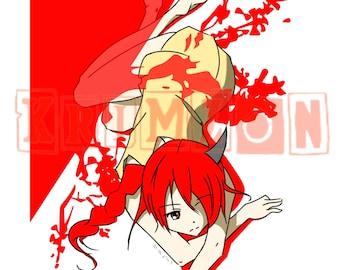 Anime Girl Cherry Red Art Digital Art Printables Manga Art Anime Artwork