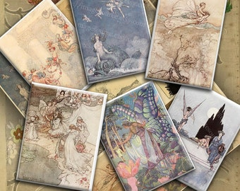 Fairy Illustrations From Shakespeares Tales, Digital Collage Sheet, Victorian Faries, Instant  Download Printables