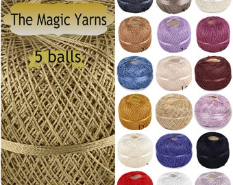 Viscose yarn, 100% viscose yarn, shining viscose yarn, viscose rayon, being viscose silk, silk crochet yarn, set of 5 balls