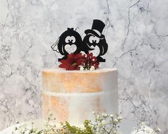 Penguin Wedding Cake Topper, Animal Cake Topper, Penguin Cake Topper, Alternative Cake topper, cute, animal wedding