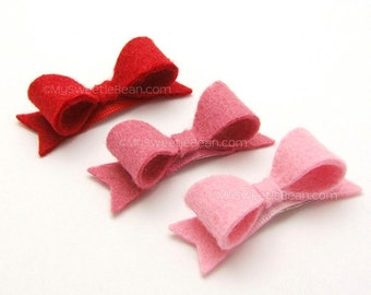 Mini Felt Hair Bows for Babies, Toddler Girls, 2 inch Felt Bows with Tails, No Slip Baby Snap Clip, Red and Pink Bow Set for Babies