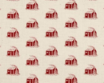 Little House on the Prairie Laura Ingalls Wilder Red Cabin Fabric Fat Quarter