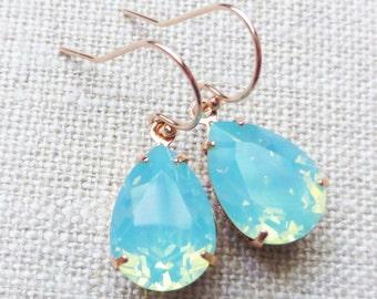 Seafoam Opal Swarovski Rose Gold Earrings, Aqua Blue Crystal Rhinestone Teardrop Earrings, Bridesmaid Gifts, Bridal Jewelry, Wedding