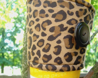 Coffee Cup Cozy Fabric Brown Leopard Print