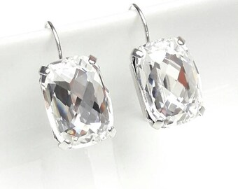Crystal bridal earrings, Wedding crystal earrings, Crystal jewelry, Classical baguette earrings, Bridesmaids earrings, Bridal jewelry BJ002