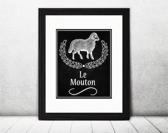 Sheep Le Mouton Chalkboard Printable, Sheep Art Printable, Kitchen Sign Decor, Farm Print, Dining Room Wall Art, Instant Download