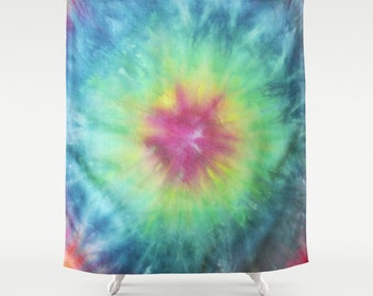 Fabric Shower Curtain-Tie Dye-Colorful Pink Yellow Blue-Decorative Shower Curtain-71x74 inches,