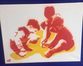 Children of today - Spray painted stencil to canvas (original) Orange and Red