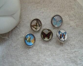 BRELOQUES PRESSIONS PAPILLONS   lot de cinq minis boutons 1,2 cm papillons bleu,rouge beige pour supports minis boutons