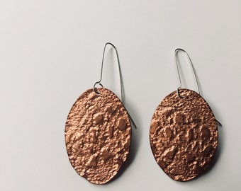 Copper lace texture earrings