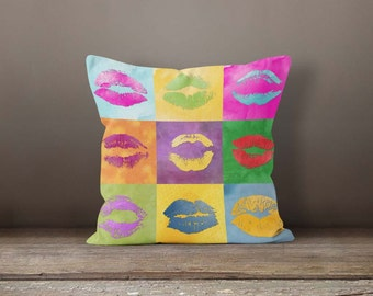 Pop art throw pillow, Colorful collage kiss pillow, Watercolor Lumbar pillow, Indoor Accent Pillow, Feminine Home decor, PDP048-10