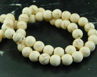 10 beige 8mm Turquoise beads