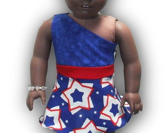 "One Shoulder Red White Blue Stars 18"" Doll Clothes Above Knee Dress w/ Invisible side zipper"