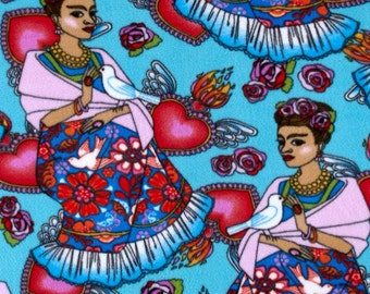 Folk Frida - Turquoise Polar Fleece Fabric by David Textiles by the yard