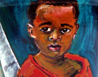 Island Art - Wall Art - Art Prints - Portrait Art - Child in the Bahamas