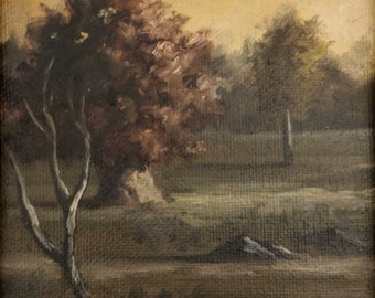 Original oil painting - landscape with sunset on canvas