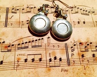 Flute Earrings, Instrument Earrings, Instrument Jewelry, Flute Jewelry, Music Jewelry, Music Earrings, Flute Key, Graduation Gift