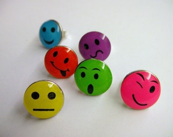 Colorful Post Earrings - FUN WOW...Facial Expression, Funny, Mood, Stud Earrings