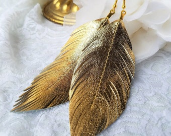 Leather Feather Earrings, Gold Earrings, Leather Feather, Boho Jewelry, Boho, Statement Earrings,  Bridesmaid Gift, Metallic Gold Earrings