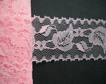 4 yards - Vintage Pink Lace Trim- 45mm wide -
