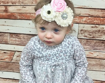 CHOOSE COLOR Rosette Headband Baby Girl Headband Baby Headband Flower Girl Headband Vintage Baby Headband Baby Bows Flower Headband Newborn