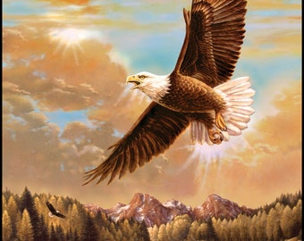 Majestic Eagle Flying Panel by Penny Rose Fabrics