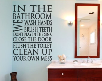 Bathroom Decor - Bathroom Rules - Bathroom Wall Decal - Wall Decal - Bathroom Wall Decal - Bathroom Wall Decor