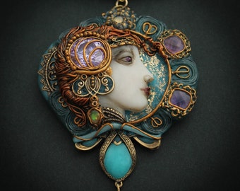 Necklace in the style of art nouveau on the art of Alphonse Mucha