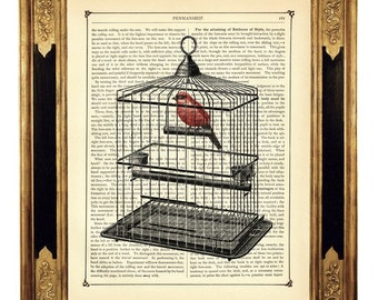 Red Bird Dictionary Art Birdcage II Poster Country Home - Steampunk Vintage Victorian Book Page Art Print