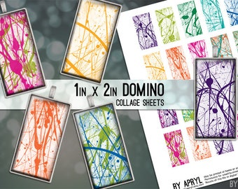 Paint Spatters 1x2 Domino Collage Sheet Digital Images for Glass and Resin Pendants Magnets Paper Craft JPG D0026