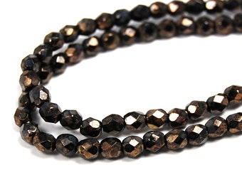 100/pc Jet Bronze Picasso Czech 4mm Fire-polished Faceted Round Beads