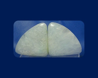 Hemimorphite Mineral Gemstones Barely Blue Icy White Hemimorphite Gem Stone Cabochons Matched Pair for Earrings Bridal Gem
