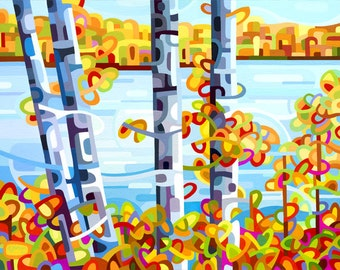 quiet fall day on the lake, autumn, fall, orange, blue, cottage, Small Signed Fine Art Giclee Print from my Original Painting - Lakeside