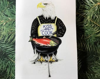 Eagle at the grill greeting card