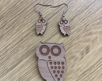Wooden owl drop earrings