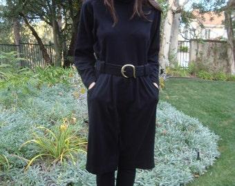 Vintage 80s Black Dress with Gold Buckle M/L