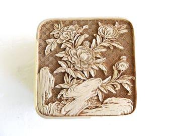 "Vintage Flowers Floral Carved Ivory Jewelry Trinket - Gift Box - Brown Velvet - Home Decor Dresser Vanity - 5"" L x 5"" W x 2 1/4"" H"