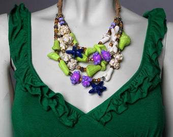 Under the Sea Necklace / Mermaid Statement Necklace / Green Coral Reef Necklace / Ocean Necklace / Lavender and Green Jewelry