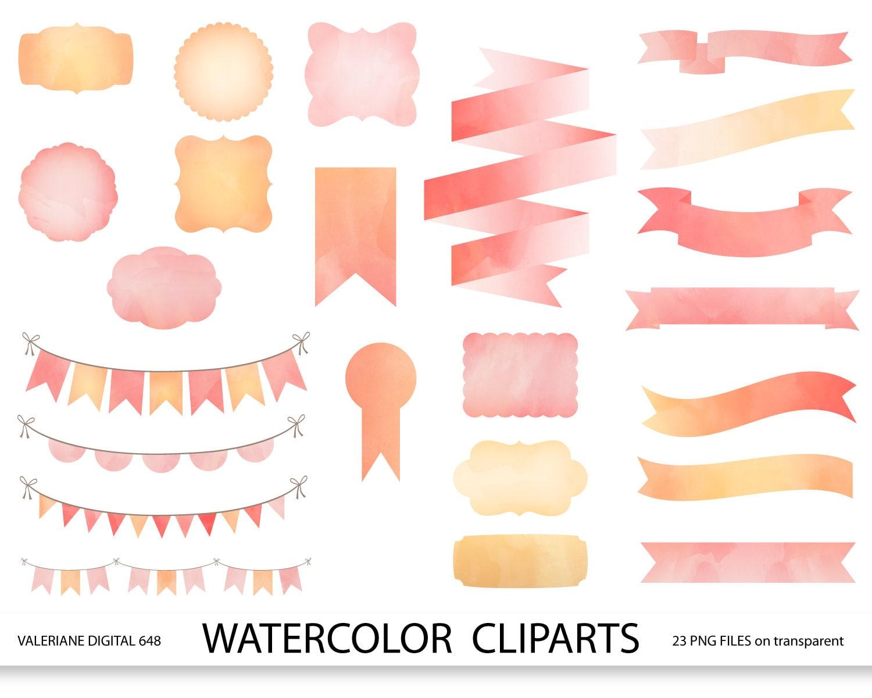 Watercolor ribbons frames and bunting clipart set, pink watercolor ...