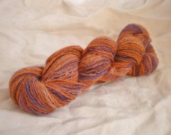 Handspun Merino Wool Yarn fingering  pumpkin and purple 330 yds