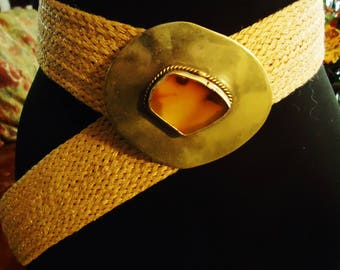 Vintage 1990s Rope Concho Stone Silver Buckle Belt