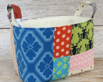 Boho Chic - Patchwork - Storage Organization Fabric Basket Container Organizer Bin - Office Decor - Kitchen Decor