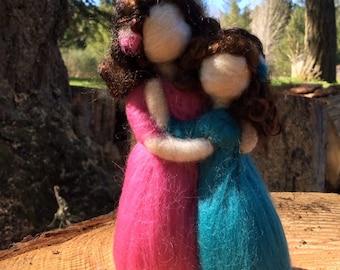 Needle Felted Custom Siblings Personalized Family Wool Figurine